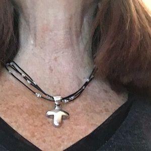 Silpada SS, CZ Leather Necklace w/ SS Puffy Cross